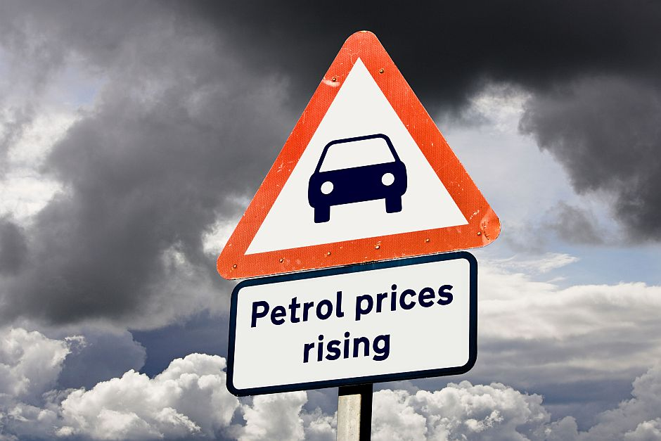 BBJTYE Concept sign showing Petrol fuel prices rising, inflation / costs, cost of living concepts, UK